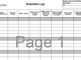 Shop Drawing Log Template Warranty and Submittal Logs Cit Project