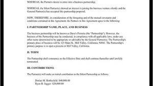 Silent Partner Contract Template Silent Partnership Agreement Template with Sample