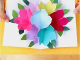 Simple Flower Pop Up Card Free Printable Happy Birthday Card with Pop Up Bouquet