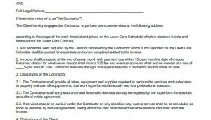 Simple Lawn Care Contract Template 9 Lawn Service Contract Templates Pdf Doc Apple Pages