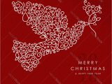 Simple New Year Card Design Merry Christmas Happy New Year Outline Dove Deco