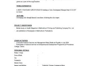 Simple Resume format Download In Ms Word for Fresher Simple Resume format for Freshers Wikirian Com