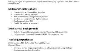 Simple Resume format for Flight attendant Simple Flight attendant Resume Template