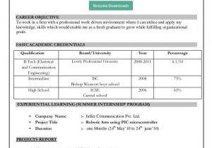 Simple Resume format for Freshers In Ms Word Resume format Download In Ms Word Download My Resume In Ms