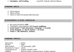 Simple Resume format for Freshers In Ms Word Resume format for Freshers