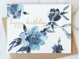 Simple Watercolor Birthday Card Ideas Indigo Floral Birthday Card Abigail Jayne Design