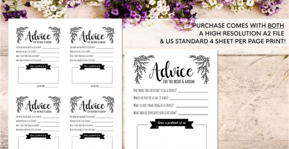 Size Of An Invitation Card Advice Card Template Advice for the Newlyweds Marriage