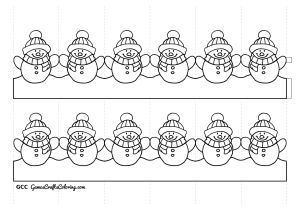 Snowman Paper Chain Template Chainmail Coloring Pages