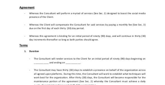 Social Media Management Contract Template social Media Consulting Services Contract