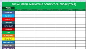 Social Media Posting Calendar Template social Media Content Calendar Template Excel Marketing
