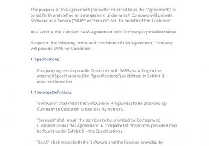 Software as A Service Contract Template Saas software as A Service Agreement 3 Easy Steps