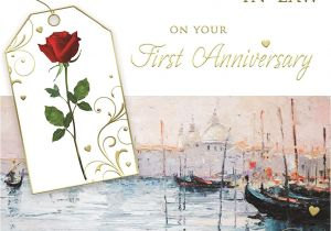 Son and Daughter In Law Anniversary Card Congratulations son Daughter In Law On Your First Anniversary 1st Venice Scene Design Greeting Card