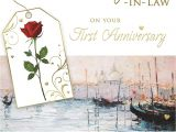 Son and Daughter In Law Anniversary Card Uk Congratulations son Daughter In Law On Your First Anniversary 1st Venice Scene Design Greeting Card