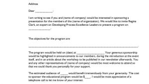 Sponsorship Request Email Template Sample Letter for Sponsorship