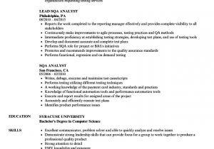 Sqa Resume Sample Sqa Analyst Resume Samples Velvet Jobs