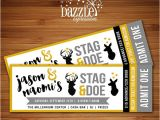 Stag and Doe Ticket Templates Printable Stag and Doe Party Ticket Invitation Deer