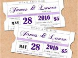 Stag and Doe Ticket Templates Purple Printable Stag and Doe Tickets Diy Wedding