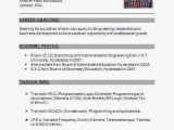 Standard Fresher Resume format Electronics and Instrumentation Fresher Resume