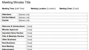 Standard Minutes Of Meeting Template Standard Meeting Minutes Template Dotxes