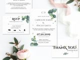 Standard Thank You Card Size Greenery Wedding Invitation Suite Printable Wedding