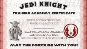 Star Wars Jedi Certificate Template Free Instant Dl Jedi Knight Certificate Star Wars Birthday Party
