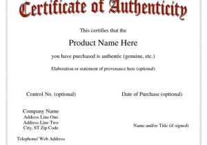 Statement Of Authenticity Template 36 Sample Certificate Of Authenticity Templates Sample