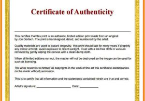 Statement Of Authenticity Template 5 Certificates Of Authenticity Templates Driver Resume