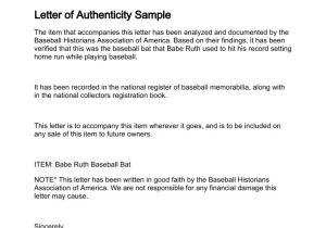 Statement Of Authenticity Template Letter Of Authenticity