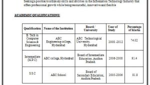 Student Resume Btech B Tech Resume format for Fresher Resume format for