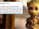 Student Resume Groot This Child Chose to Be Groot On His Resume Twitterati