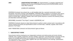 Sub Contractor Contract Template Subcontractor Agreement Template Sample form Biztree Com