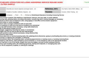 Switchboard Operator Resume Sample Switchboard Operator Resume Sample Samplebusinessresume