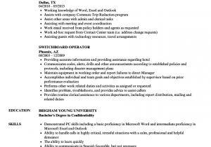 Switchboard Operator Resume Sample Switchboard Operator Resume Samples Velvet Jobs