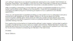 Sysadmin Cover Letter Linux System Administrator Cover Letter Sample Cover