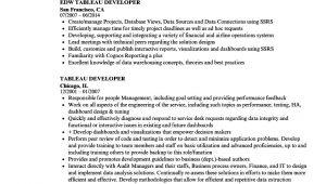 Tableau Resume Sample Tableau Developer Resume Samples Velvet Jobs