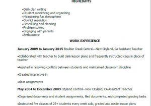 Teacher assistant Resume Sample 1 assistant Teacher Resume Templates Try them now