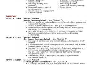Teacher assistant Resume Sample Best assistant Teacher Resume Example Livecareer