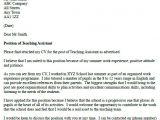 Teacher Job Application Resume Teaching assistant Cover Letter Example Sample Cover
