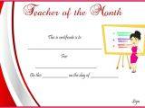 Teacher Of the Month Certificate Template Teacher Of the Month Certificate Templates 11 Word