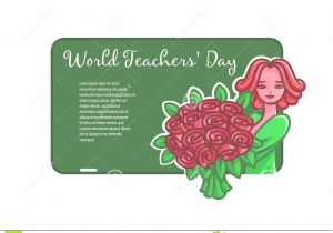 Teachers Day Card Vector Free Download Girl Teacher with Flowers at A Board for A Chalk Stock