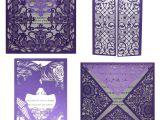 Teachers Day Greeting Card Handmade 10 Kits Purple Elegant Laser Cut Wedding Invitation Cards