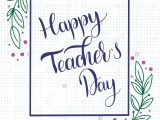 Teachers Day Invitation Card Writing Happy Teacher Day Lettering Elements for Invitations