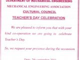 Teachers Day Invitation Card Writing Mechanical Engineering association Annamalai University