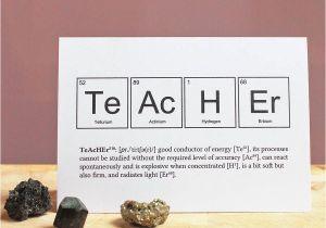 Teachers Day Thank You Card Teacher Periodic Table Humourous Card Teachersdaycard with