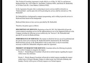 Tech Support Contract Template Consulting Agreement for Technical Services Contract