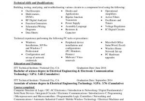 Technical Skills for Electrical Engineer Resume Electrical Engineer Electronics Technician Resume