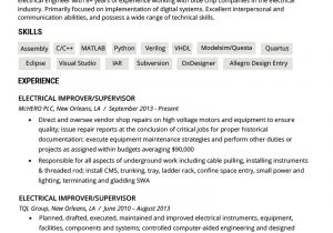 Technical Skills for Electrical Engineer Resume Electrical Engineer Resume Example Writing Tips Resume