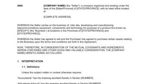 Telecom Contract Template asset Purchase Agreement for A Telecom Business Template