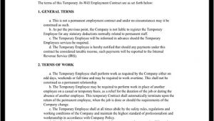 Temp to Perm Contract Template Temporary Employment Contract Agreement Template with