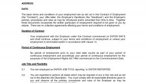 Template for Contract Of Employment Free Printable Employment Contract Sample form Generic